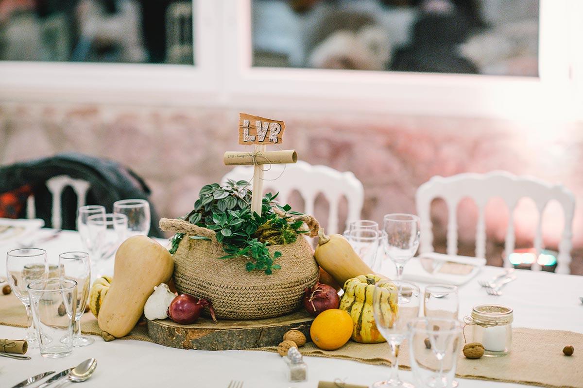 Centre de tables original pour mariage d'hiver