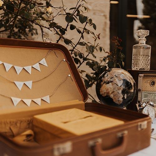 Table urne de mariage décorée
