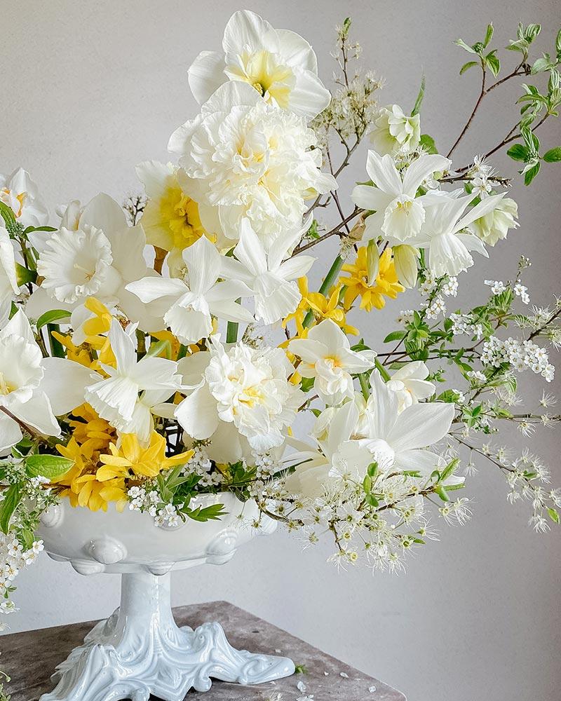 Déco florale narcisses blanches
