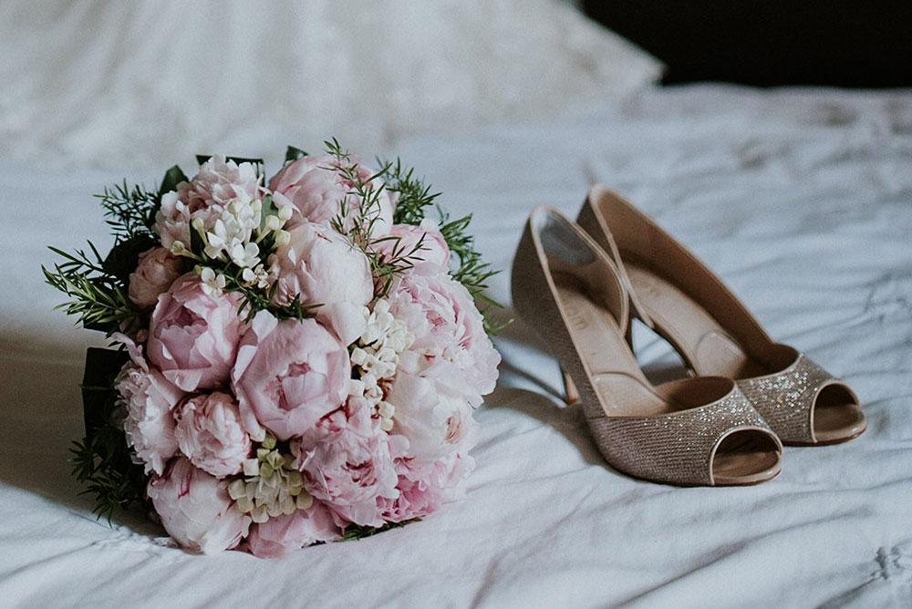 Bouquet de la mariée pivoines roses