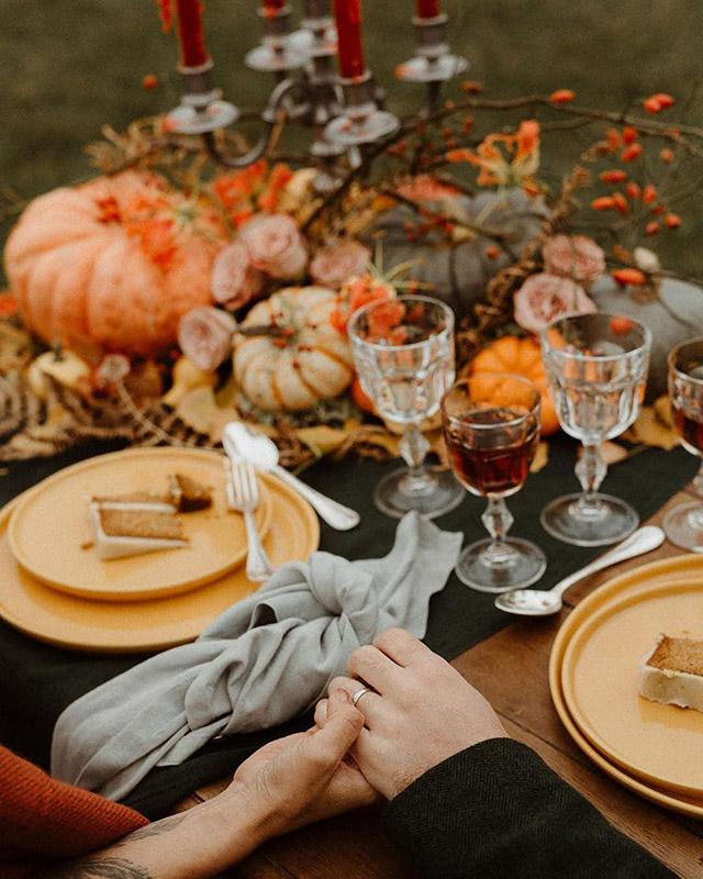 Décoration de table pour un mariage d'automne