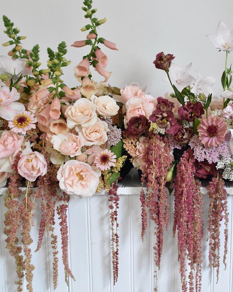 Déco fleurs pour mariage thème rose bohème
