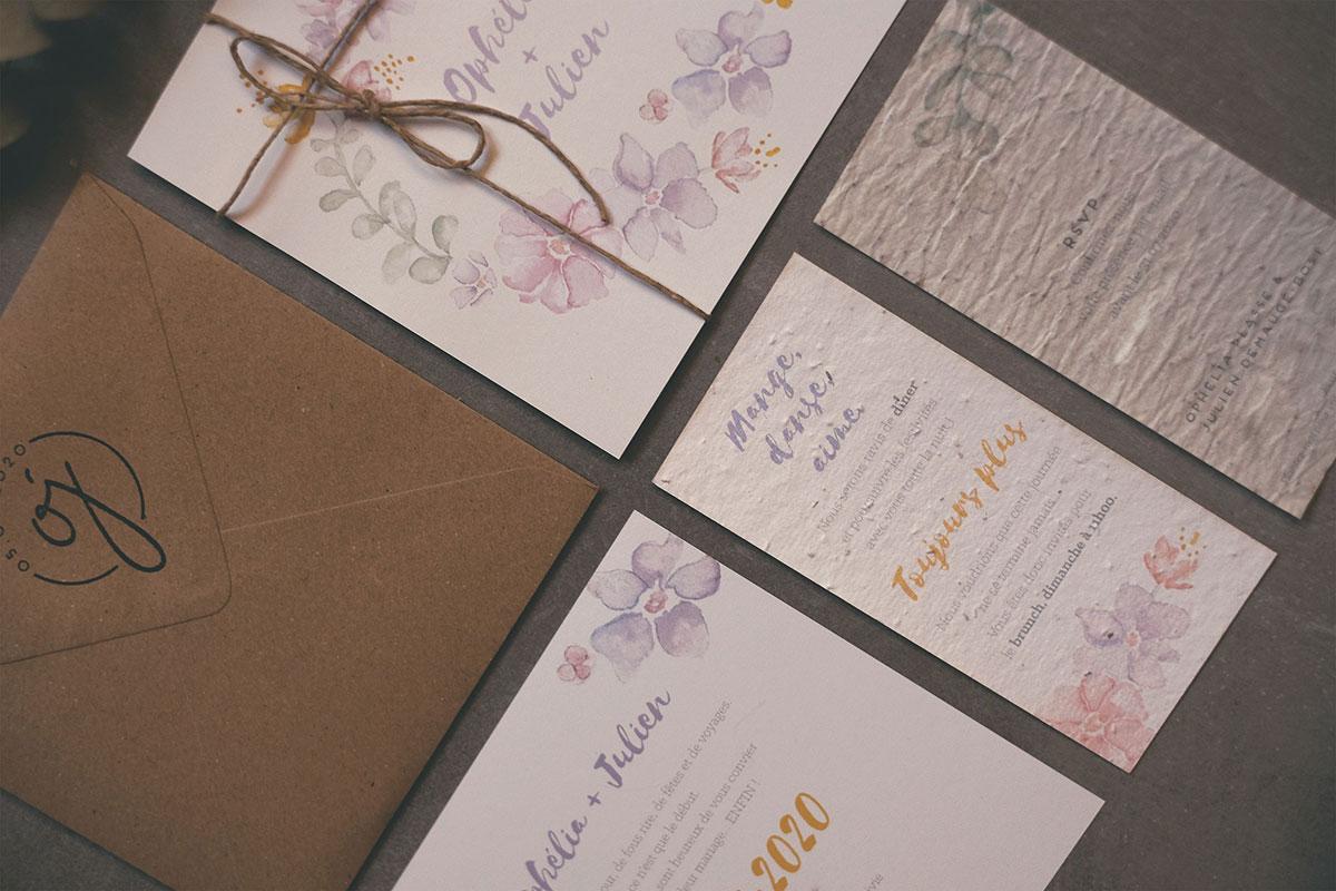Faire part mariage papier ensemencé et enveloppe kraft