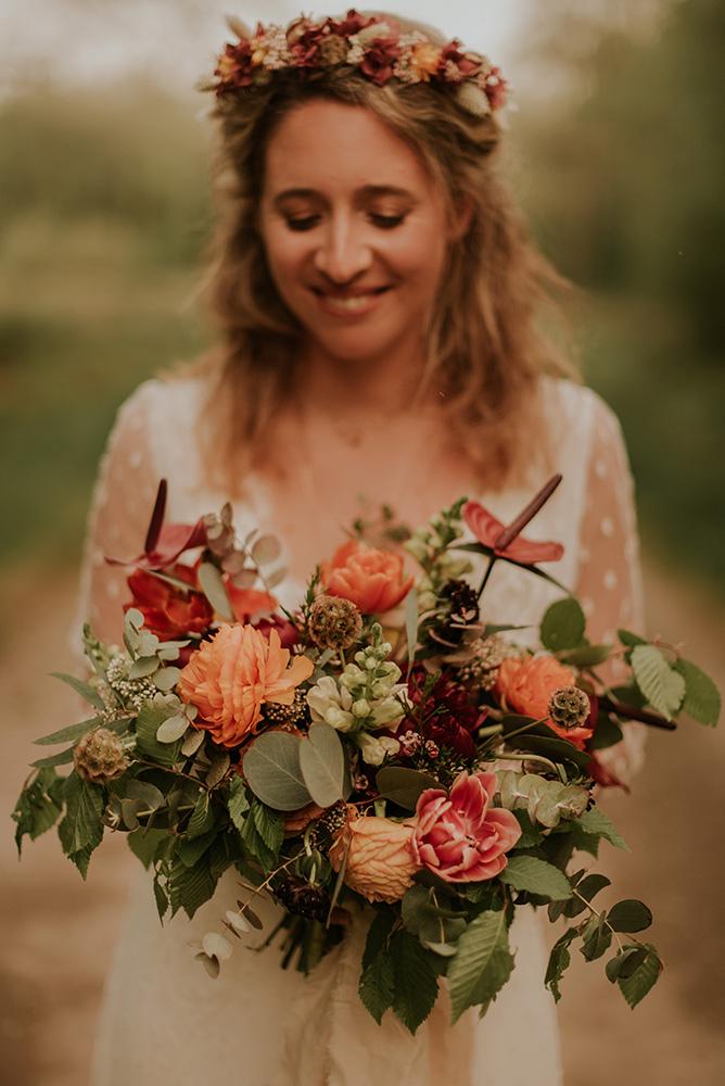 Bouquet de mariée bohème corail