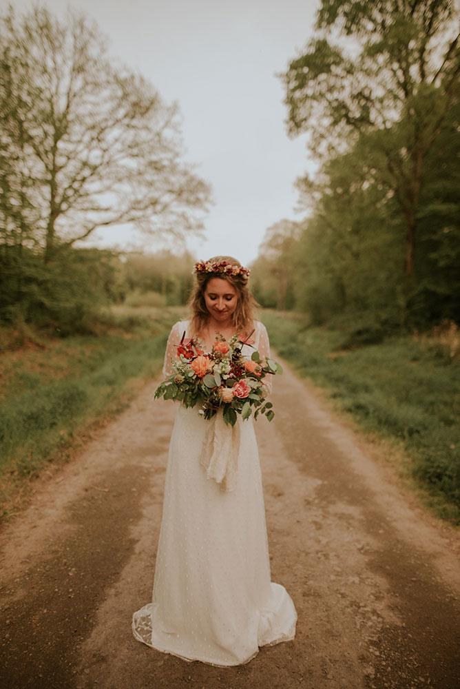 Robe de mariée fluide à manches longues